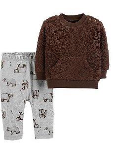 Conjunto Carters Calça e Sherpa Pullover  - 2 Peças - Cute Bear