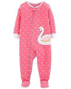 Pijama carters manga longa com pezinho Fleece Carters Cisne