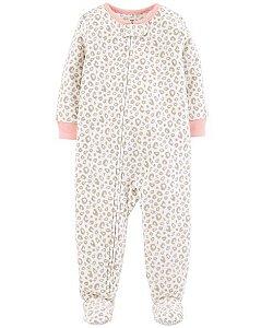 Pijama carters manga longa com pezinho Fleece Carters Leopard