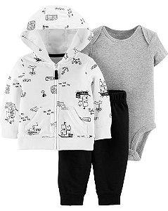 Conjunto 3 peças Cardigan com capuz e manga longa - body manga curta e calça - ocean