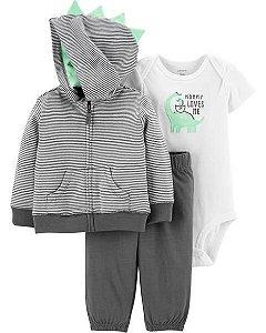 Conjunto carters cardigan, calça e body manga curta - 3 peças Carters Dinosaur
