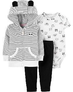 Conjunto carters cardigan, calça e body manga curta - 3 peças Carters Panda