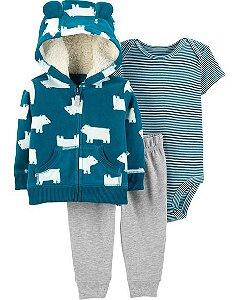 Conjunto carters cardigan, calça e body manga curta - 3 peças - Little Jacket Set Blue