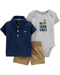 Conjunto carters short, camiseta polo e body manga curta - 3 peças - good vibes