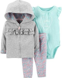 3 peças - conjunto cardigan, body e calça - you and me flowers - carters
