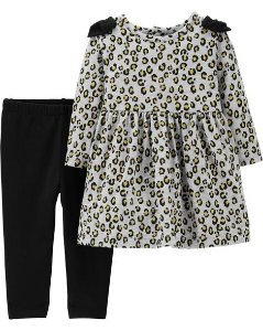 Conjunto carters 2 peças vestido e calça - leopard