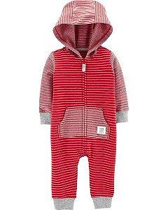 Macacão Carters Com Capuz Hooded Striped Red