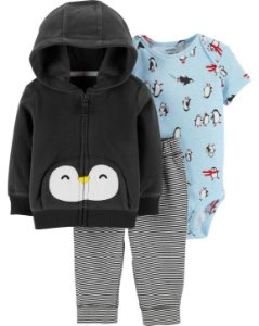 Conjunto Carters Calça Body manga curta e Cardigam Com Capuz - 3 Peças - Little Penguin