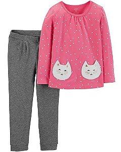 Conjunto Carters Calça e Cardigam Sem Capuz - 2 Peças - Polka dot cat
