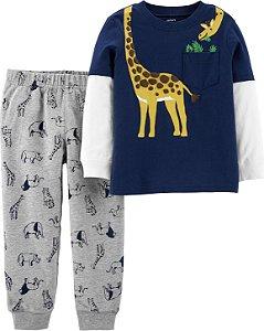 Conjunto Carters Calça e Cardigam Sem Capuz - 2 Peças - Giraffe