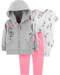 3 Peças - Conjunto Cardigan Com Capuz, Body Manga Curta e Calça - Flamingo - Carters