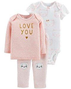 Conjunto carters - 3 peças - blusa body e calça - cat love