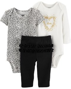 Conjunto carters - 3 peças - blusa body e calça - leopard love