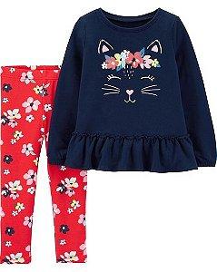 Conjunto  2 peças carters blusa e calça - cat Floral Legging