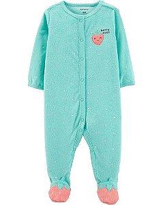 Pijama manga longa com pezinho Carters Strawberry