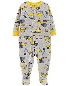 Pijama Fleece carters manga longa com pezinho  Carters Construction