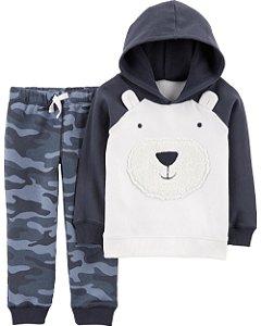 Conjunto Carters Calça e Cardigam Com Capuz - 2 Peças - Cute Bear