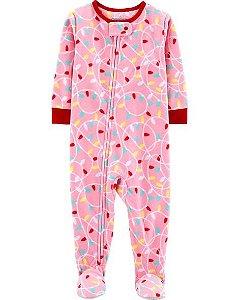 Pijama Fleece  manga longa com pezinho Carters String Lights