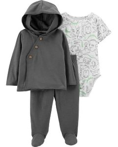 Conjunto carters cardigan com capuz, calça com pezinho e body manga curta - 3 peças Carters Dinosaur