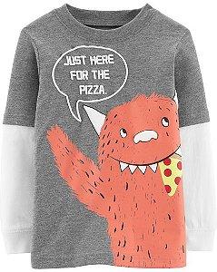 Blusa manga longa Carters pizza monster