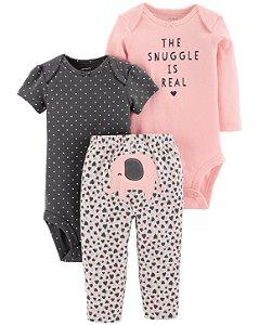 Conjunto 3 peças  body manga curta e calça - pink elephant