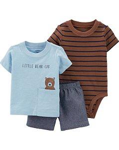 Conjunto 3 peças  body manga curta camiseta e shorts - urso