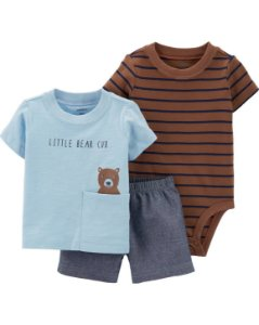 Conjunto 3 peças  body manga curta camiseta e shorts - bear
