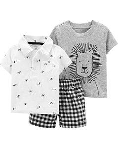 Conjunto 3 peças  body manga curta camiseta e shorts - lion