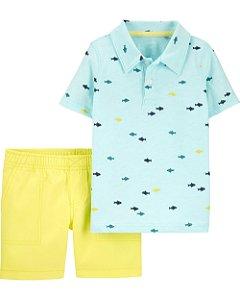 Conjunto Verão Carter's 2 Peças -Polo Fish Slub