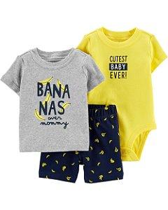 Conjunto 3 peças Carters Bananas