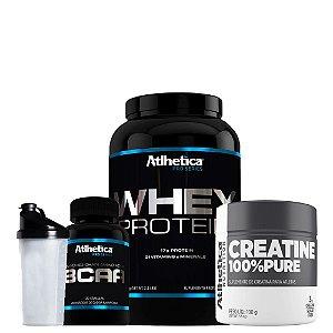 Whey Protein 1kg + Bcaa 120 Cáps + Creatina + Coqueteleira