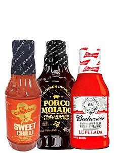 KIT 3 Pimenta Sweet Chilli + 3 Porco Moiado + 3 Budweiser