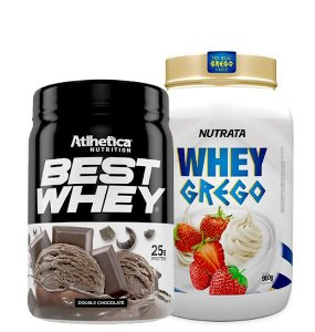 Whey Grego 900g Nutrata + Best whey 450g Atlhetica