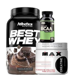 Best Whey 900g Atlhetica + Bcaa 60caps On + Creatine 150g Max Titanium