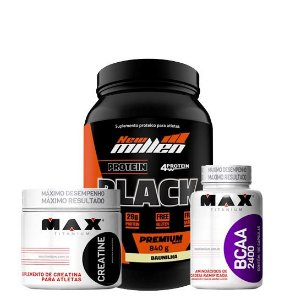 Protein Black 840g + Bcaa 100caps + Creatina 150g
