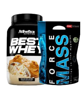 Hipercalórico Force Mass 3kg Pro Corps + Best Whey 900g Atlhetica