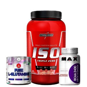 Combo Iso Triple 907g + L-Glutamine 280g + Bcaa 100caps