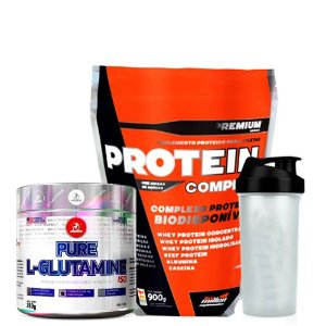 Protein Complex 900g + Glutamine 280g + Coqueteleira