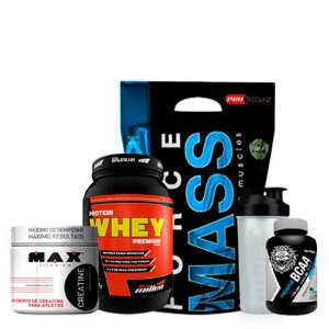 Force Mass 3Kg + Protein Whey + Creatina + Bcaa + Coqueteleira
