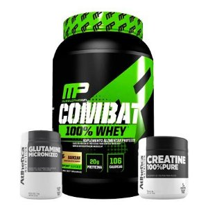 Whey Combat 900g + Glutamine Micronized + Creatine 100% Pure