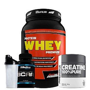Protein Whey 900g + Bcaa 120caps + Creatine + Coqueteleira