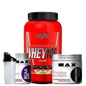 Whey Protein 100% + Bcaa + Creatina + Coqueteleira
