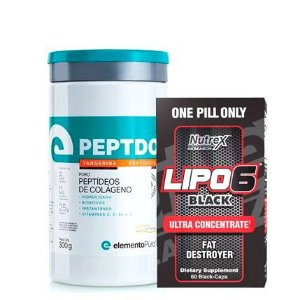 Lipo 6 Black 60 caps Nutrex + Colágeno Peptdop 300g Elemento Puro