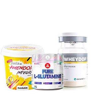 Wheydop Iso 900g + L-Glutamine 280g + Pasta de Amendoim