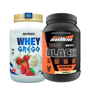 Combo Whey Grego 900g Nutrata + Protein Black New Millen
