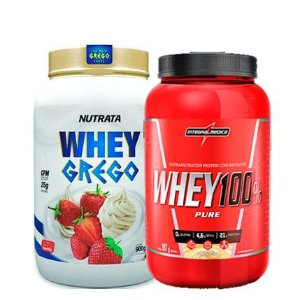 Whey Grego 900g Nutrata + Whey 100% Pure 907g Integralmedica