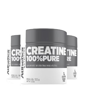 Kit 3 Creatina 100% Pura 100g Atlhetica