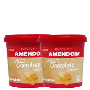 Kit 2un Pasta de Amendoim Chocolate Branco 1kg Mandubim