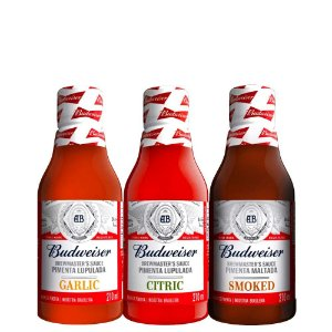 Kit 3 Unid Molho De Pimenta Garlic+Citric+Smoked Budweiser 210ml