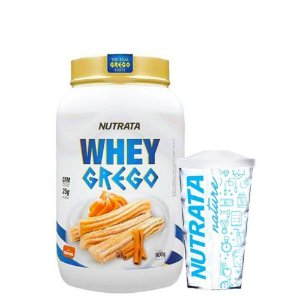 Combo Whey Grego 900g + Copo Nutrata Nature